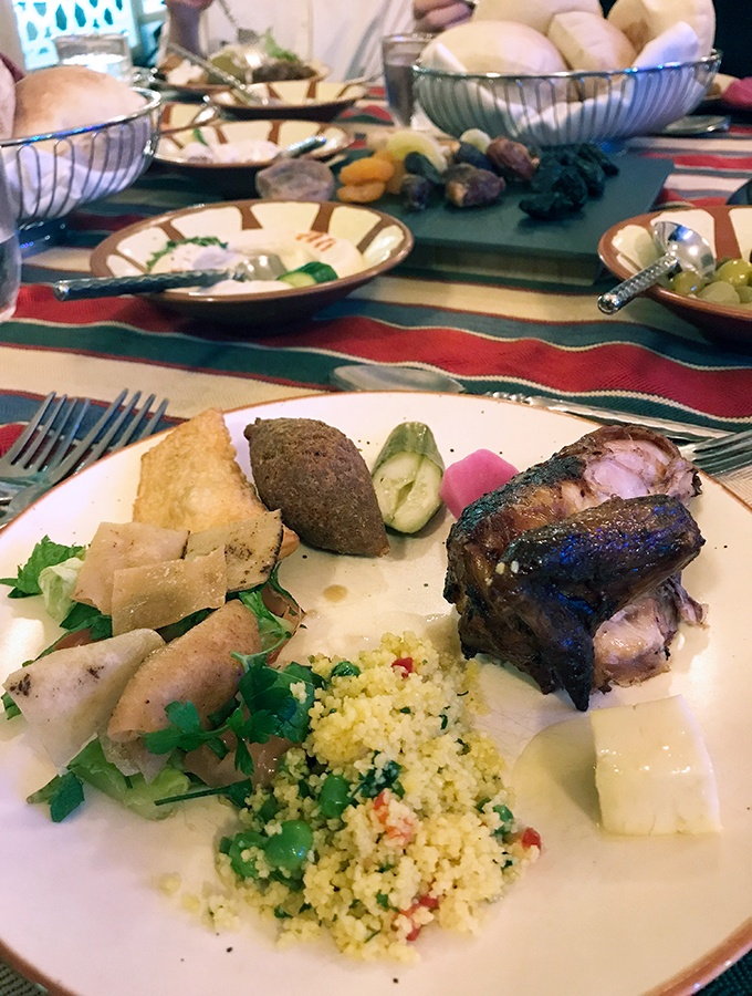 One of many plates after visiting the buffet and live cooking stations at Al Hadheerah Desert Restaurant Dubai