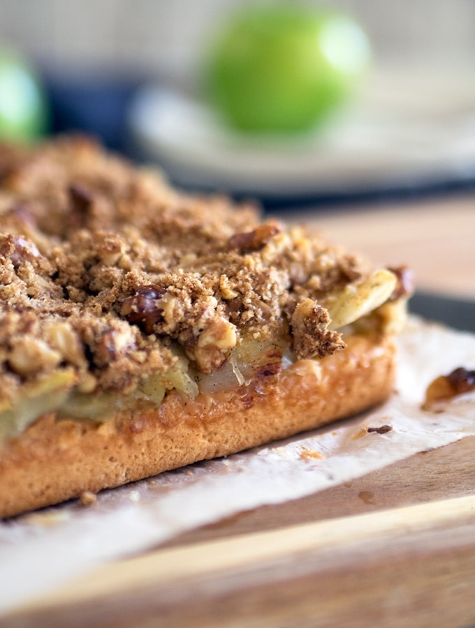 This slice is just as perfect served cold or served warm with some ice cream - Apple Walnut Crumble Slice