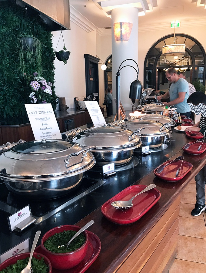 Crowne Plaza Terrigal Seasalt Restaurant Breakfast Buffet - there is a wide range of hot choices on the buffet
