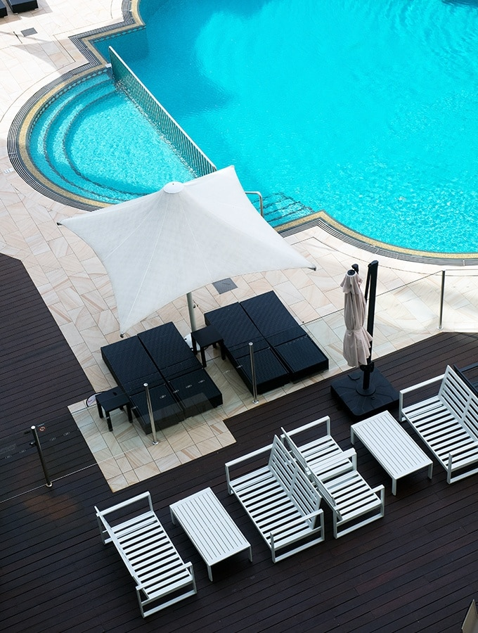 Plenty of places to relax by the pool at Terrigal Crowne Plaza