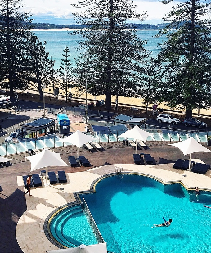 The stunning pool from the pool view room at Terrigal Crowne Plaza Resort