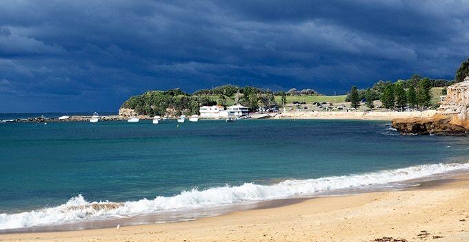 Stormy rain clouds at Terrigal Beach on the Central Coast