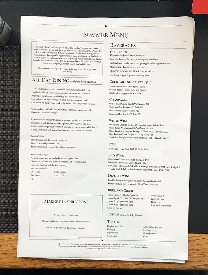 Qantas First Class Lounge Sydney Neil Perry Summer Menu