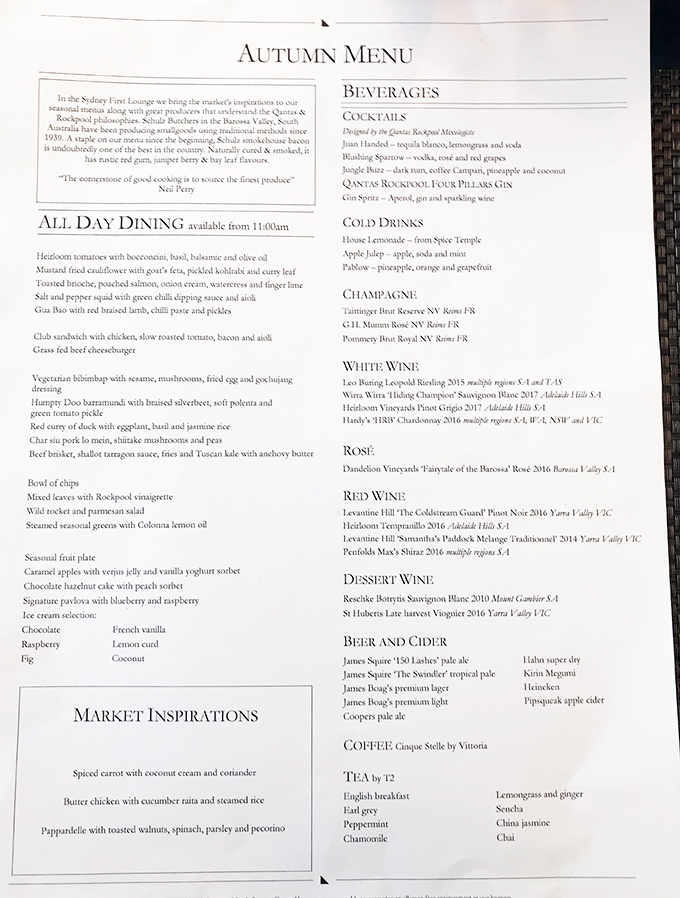 Qantas First Class Lounge Sydney Neil Perry Autumn Menu