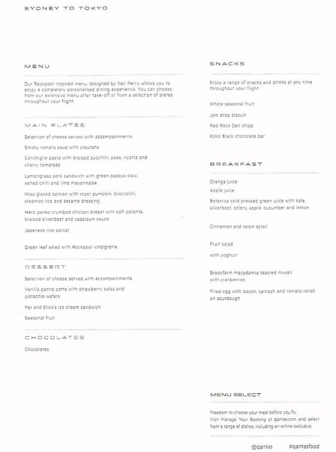 the best Qantas business class seats Sydney to Tokyo - in flight menu