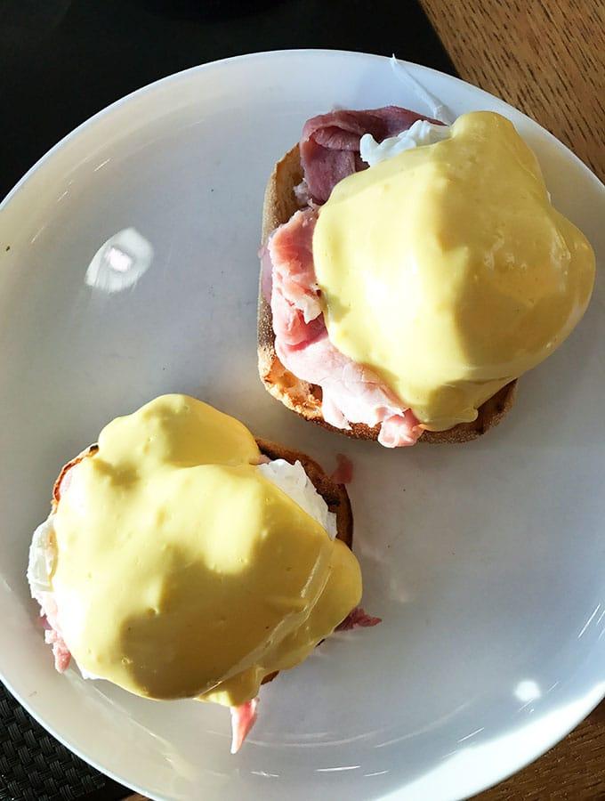 Qantas First Class Lounge Sydney - breakfast of eggs benedict