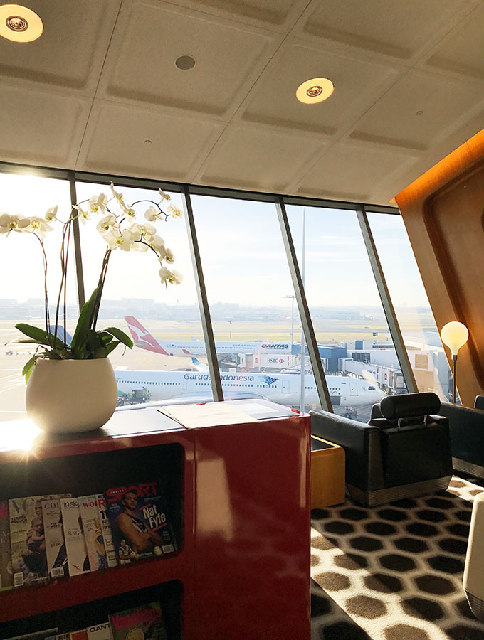 Qantas First Class Lounge Sydney - scenic view over the airport