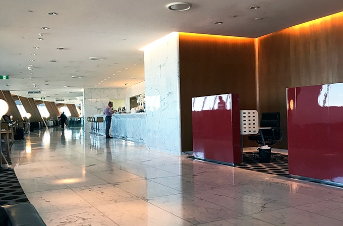 Qantas First Class Lounge Sydney - marble floors and walls