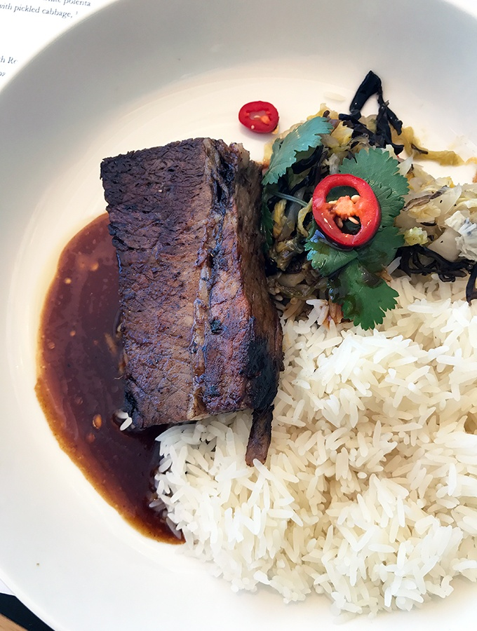 Qantas First Class Lounge Sydney - Neil Perry slow cooked beef rib