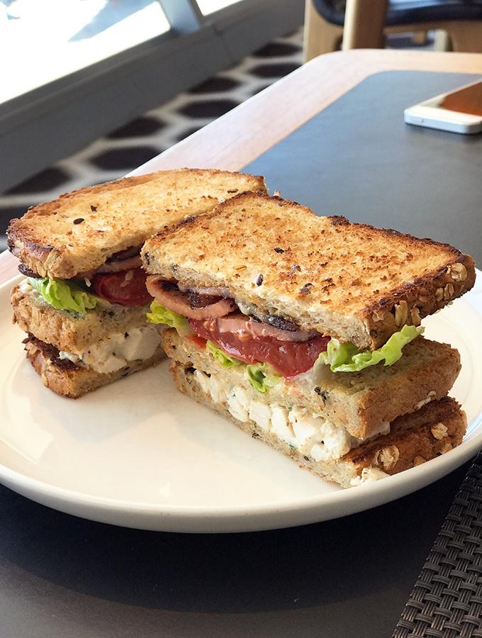 Qantas First Class Lounge Sydney - the very popular Neil Petty club sandwich