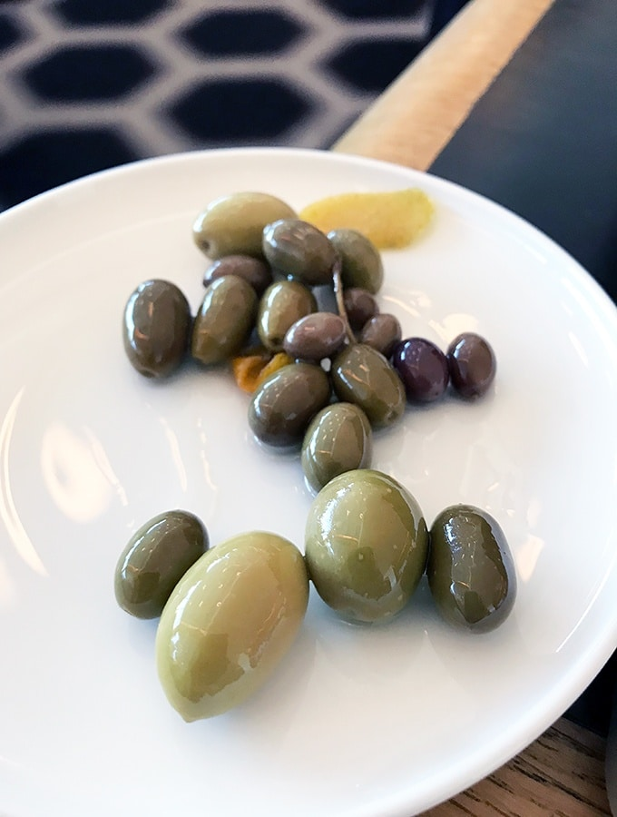 Qantas First Class Lounge Sydney - self serve olives at the bar