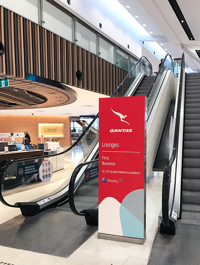 Qantas First Class Lounge Sydney - Head up the escalators to find the lounge