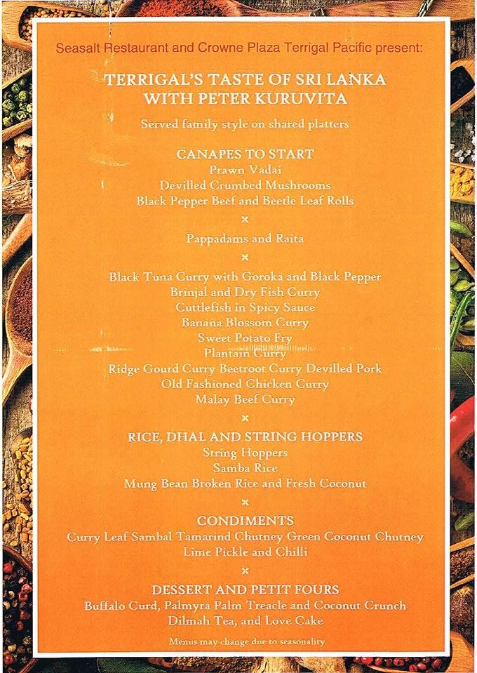 Taste of Sri Lanka with Peter Kuruvita Dinner