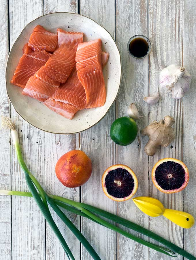 ingredients for trout fillets and blood orange