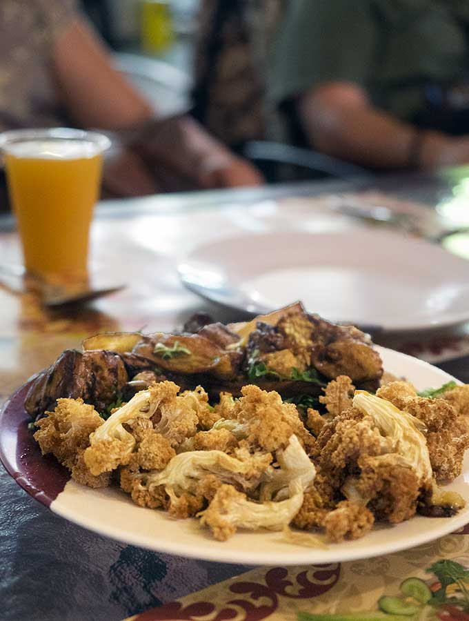 Fried cauliflower at a Jordanian Restaurant