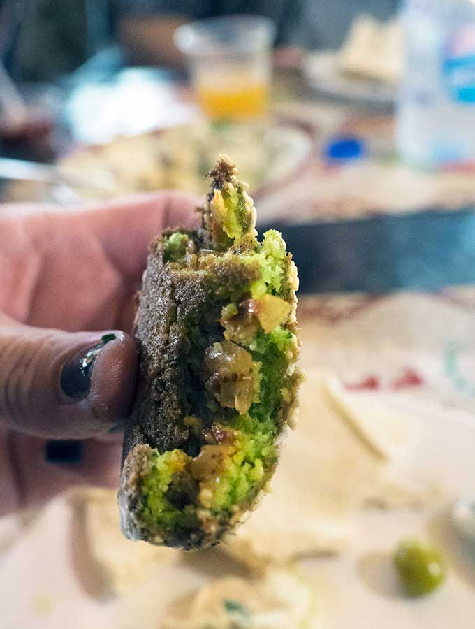 The inside of a stuffed falafel in Dubai