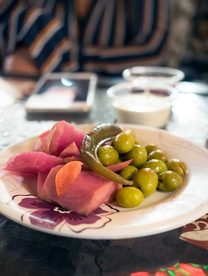 Plate of Jordanian Pickles