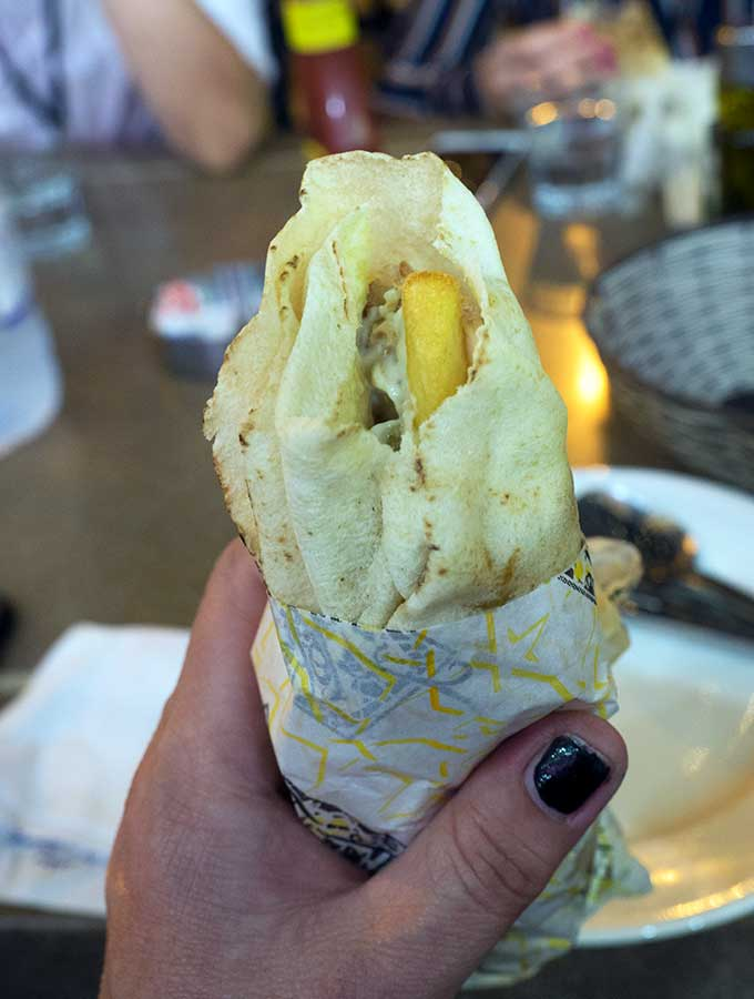 Chicken Shawarma with chips in Dubai