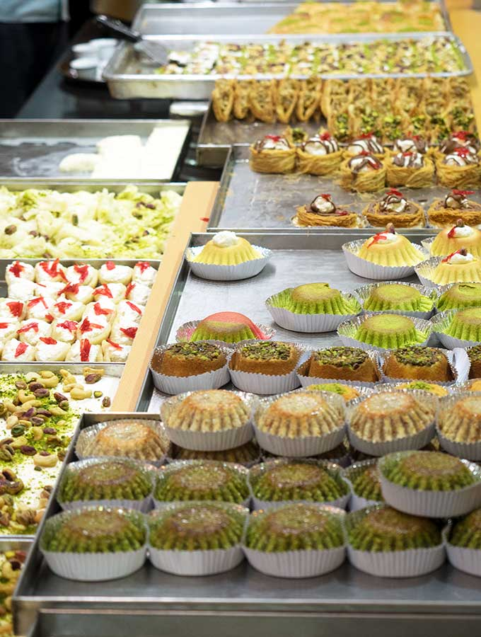 Various cakes at a cake shop in Dubai