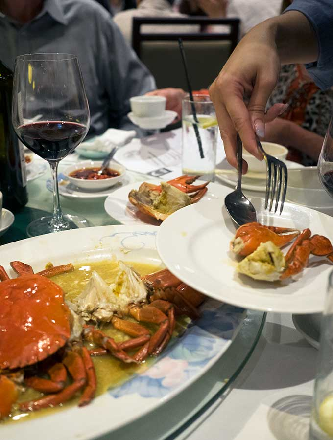macanese cuisine serving steamed mud crab