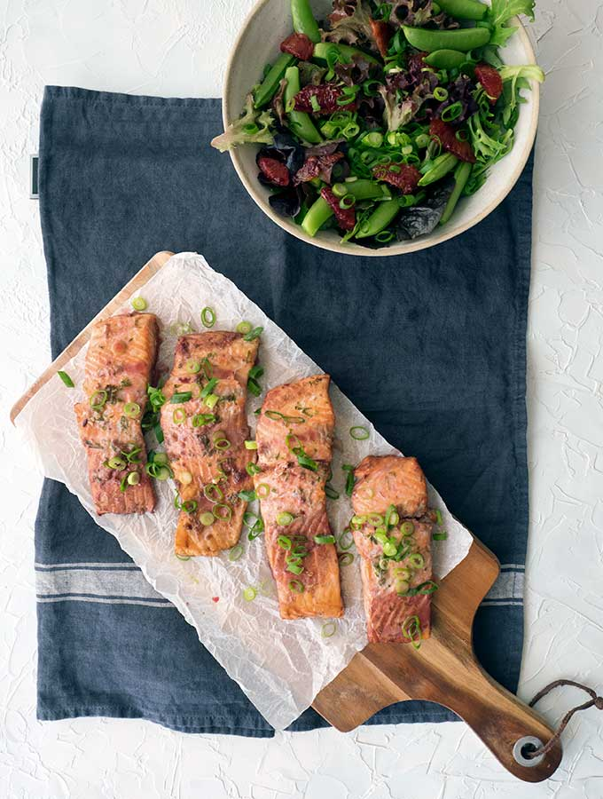 baked trout fillets and salad