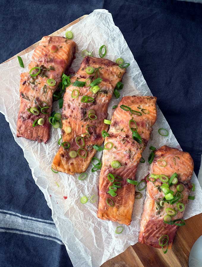 baked ocean trout with green onion