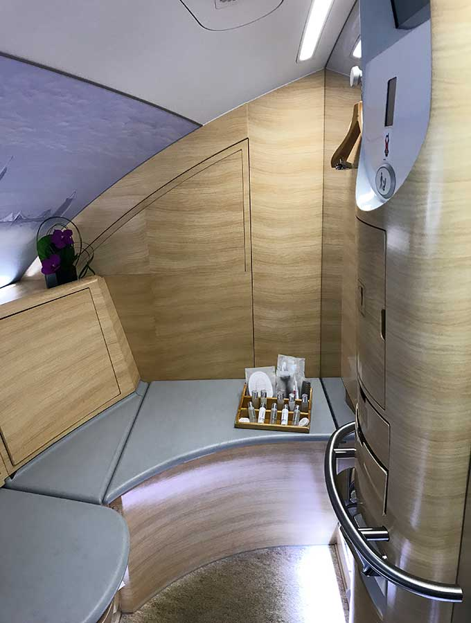 Emirates A380 first class bathroom left hand shower spa
