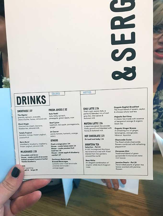 Drinks Menu Tom & Serg Dubai
