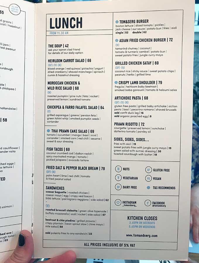 Lunch menu tom & serg