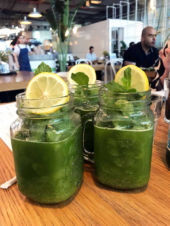 Frozen lemon and mint drinks at Tome & Serg Dubai