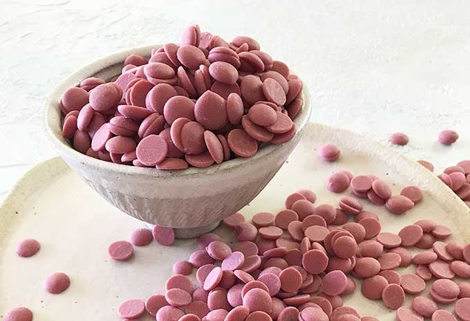 Barry Callebaut Ruby callets in a bowl