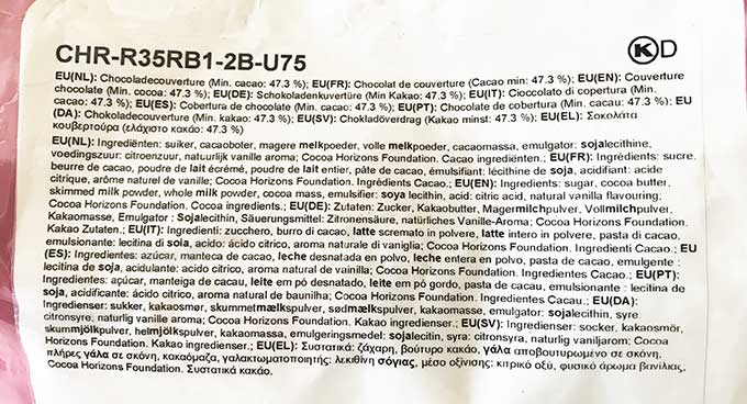 list of ingredients on the chocolate packaging