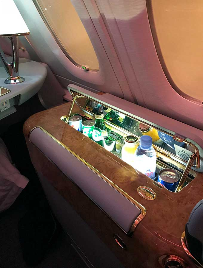 Emirates First Class Sydney to Bangkok first class suite personal mini bar