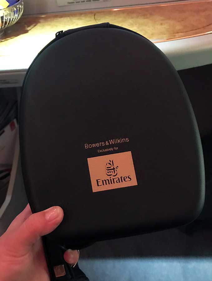 Emirates First Class Sydney to Bangkok first class headphone case