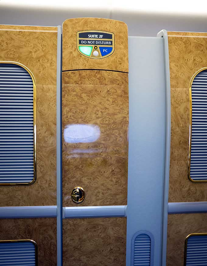 Emirates First Class Sydney to Bangkok first class suite with door closed from outside