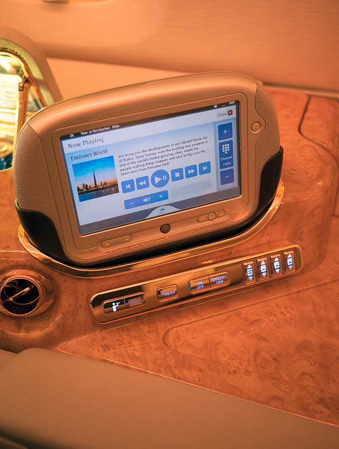 Emirates First Class Sydney to Bangkok additional control for in flight entertainment