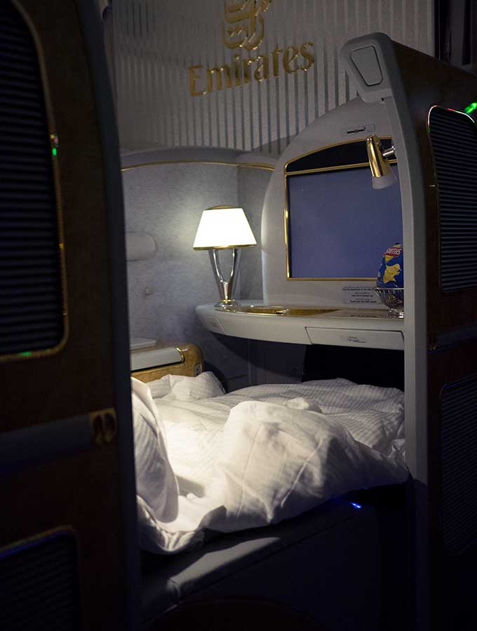 Emirates First Class Sydney to Bangkok view of first class suite from the side