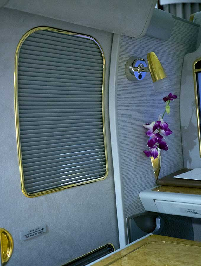 Emirates First Class Sydney to Bangkok door closed from inside first class suite