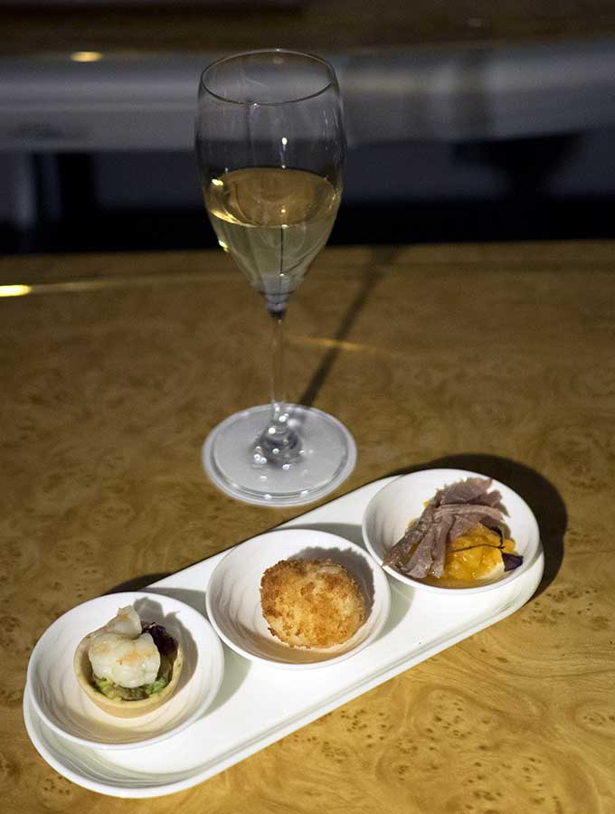 Emirates First Class Sydney to Bangkok trio of canape to accompany champagne
