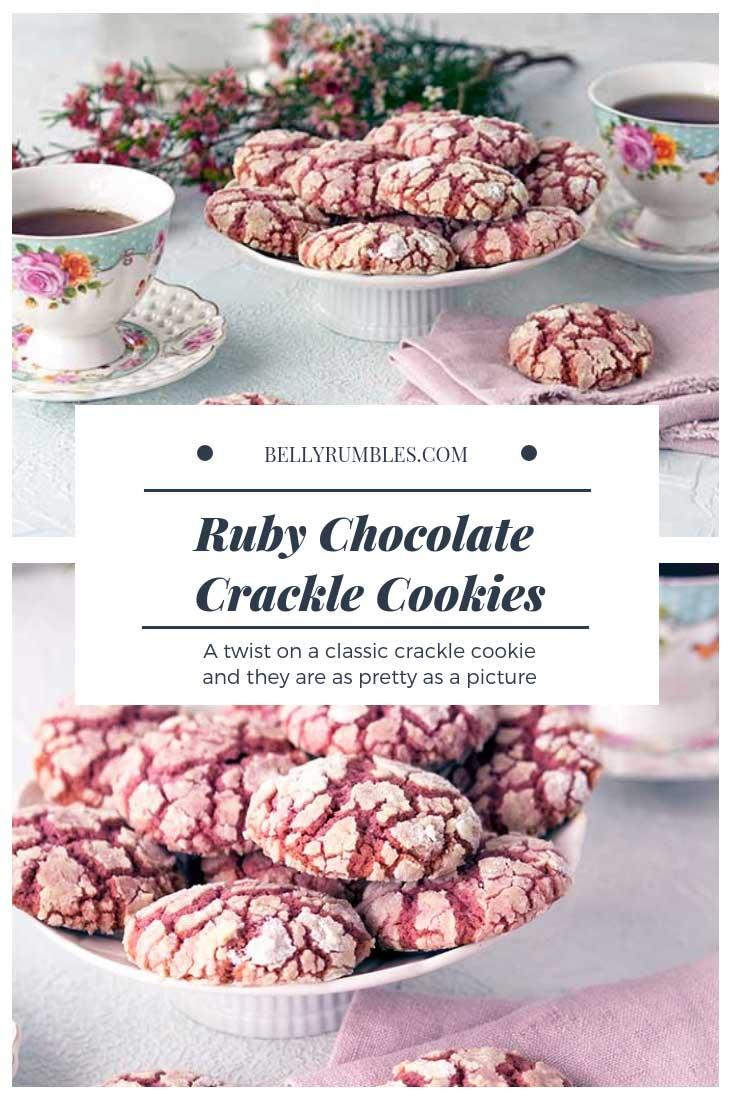 Ruby Chocolate Crackle Cookies