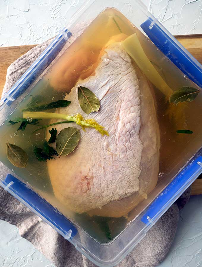 whole turkey breast off bone and with skin in brining solution