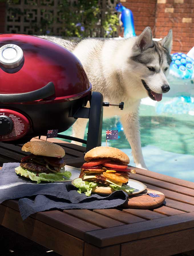 harley with aussie burgers by the pool