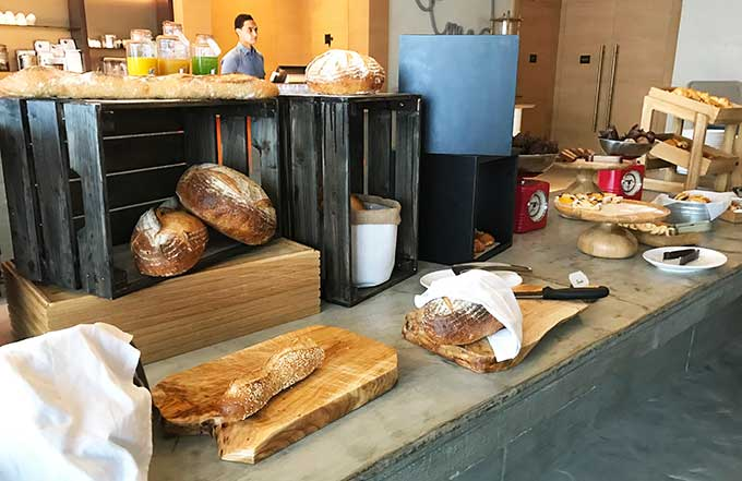 various breads on boards