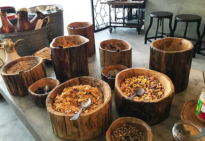 various cereals in wooden containers that look like tree stumps