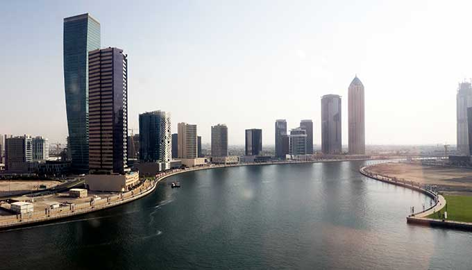view of dubai water canal with buildings at day