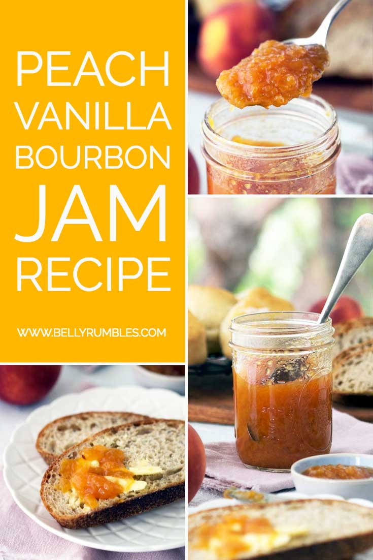Pinterest pin for vanilla bourbon peach jam showing various images of the jam