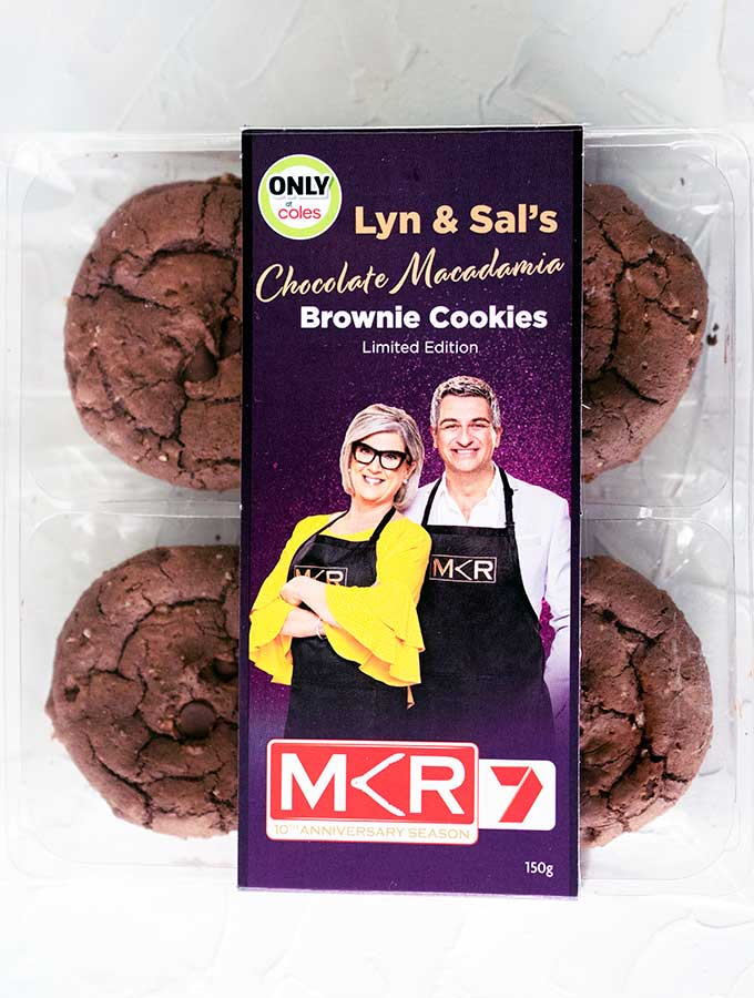 a packet of MKR Lyn & Sal's Brownie Cookies