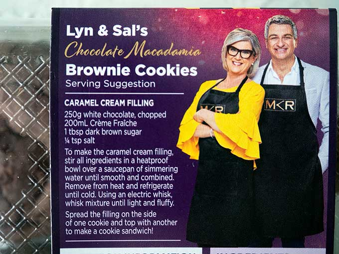 carmel cream recipe on the packet of MKR Lyn & Sal's Brownie Cookies