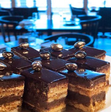 Slices of opera cake on a plate