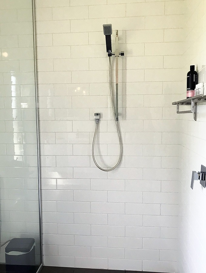 walk in large shower in bathroom of the dog house port macquarie